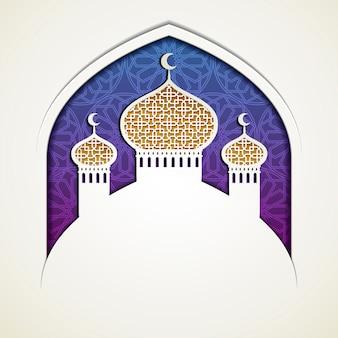 Moskee ui koepel in papieren kunststijl