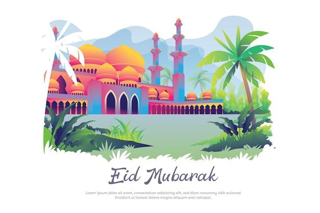 Moskee voor eid mubarak-sjabloon