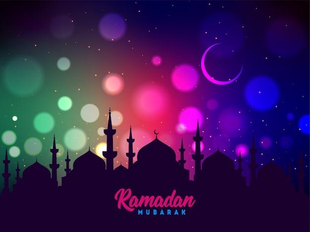 Moskeesilhouet op kleurrijke glanzende achtergrond voor islamitische ramadan mubarak