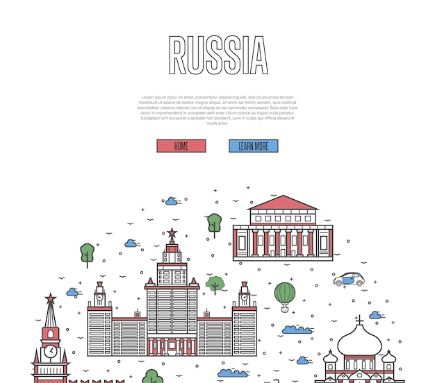 Moskou reizen tour sjabloon in lineaire stijl
