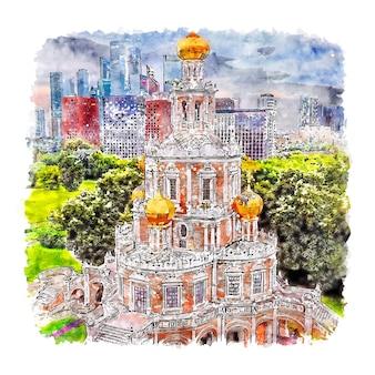 Moskou rusland aquarel schets hand getrokken illustratie