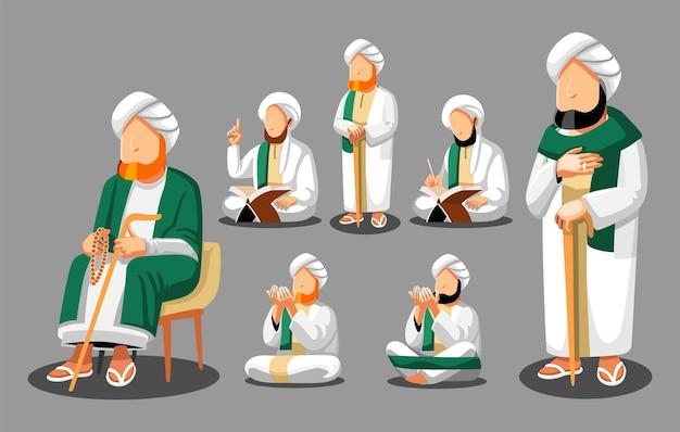 Moslim beurzen islamitische tradities bidden tot god die het heilige boek koran leest