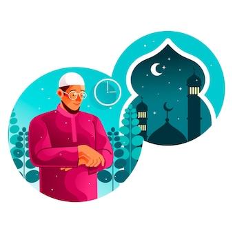 Moslim bidt tahajjud in de derde van de nacht