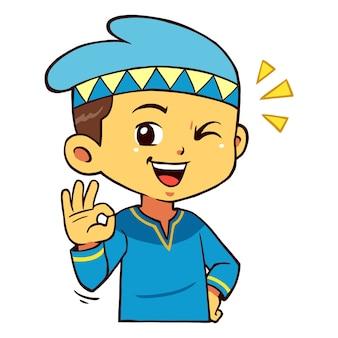 Moslim boy character pose aye.