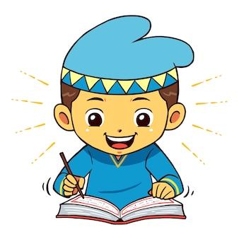 Moslim boy character reading koran poseert.