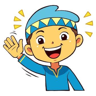 Moslim boy character waving pose.