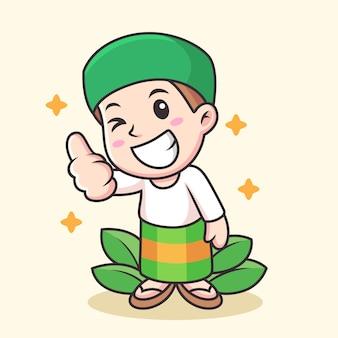 Moslim cartoon met duim omhoog pose. pictogram illustratie geïsoleerd