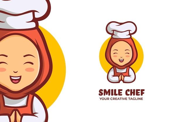 Moslim chef-kok mascotte logo karakter