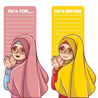 Moslim du'a sjabloon met moslimvrouw