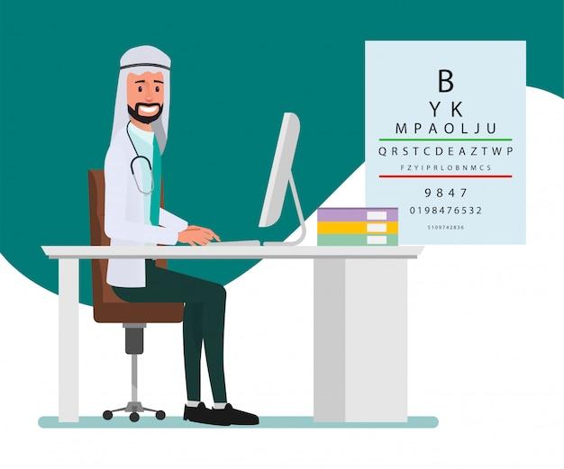 Moslim en arabisch artsenkarakter. ziekenhuismedewerker en medisch personeel.