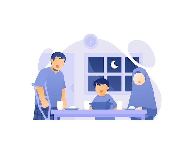 Moslim familie eet samen in de eetkamer illustratie