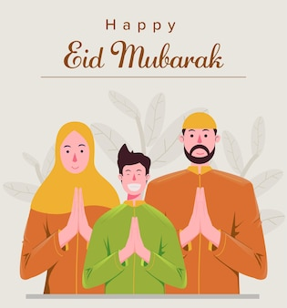 Moslim familie groet gelukkig eid mubarak Premium Vector