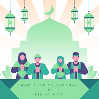 Moslim familie illustratie. ramadan en eid al fitr-illustratie. familie activiteiten in ramadan concept illustratie