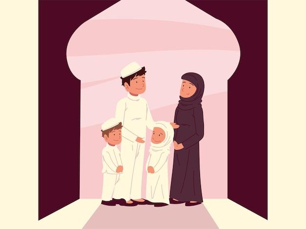 Moslim familie moskee