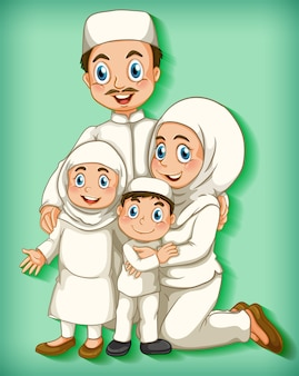 Moslim familielid op cartoon karakter kleurverloop achtergrond
