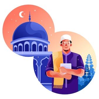 Moslim gaat naar de moskee met de koran