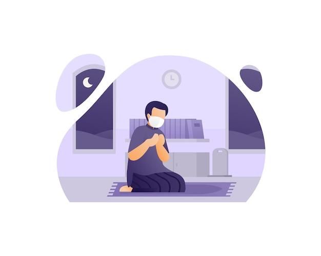 Moslim gebed met een masker en 's nachts bidden in zijn huis