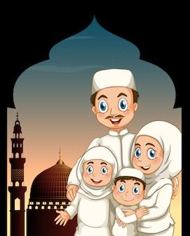 Moslim gezin door de moskee Gratis Vector