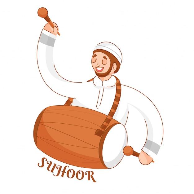 Moslim jonge jongen die dhol (trommel) op witte achtergrond speelt voor suhoor-tijdviering.
