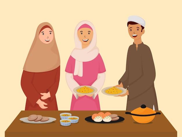 Moslim jonge jongen en meisje genieten van iftar of suhoor-maaltijd