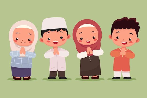 Moslim kinderen jongen en meisje collectie