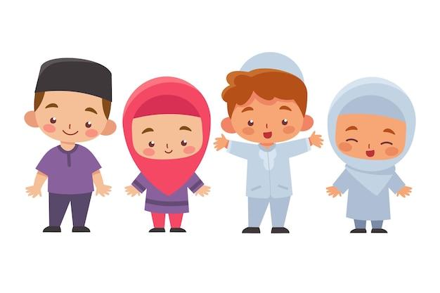 Moslim kinderen meisje en jongen collectie