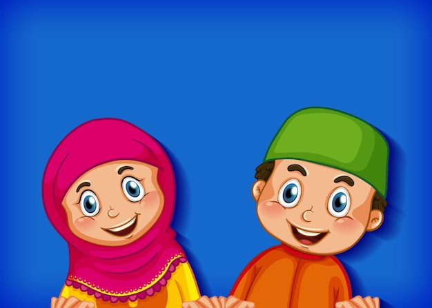 Moslim kinderen stripfiguur