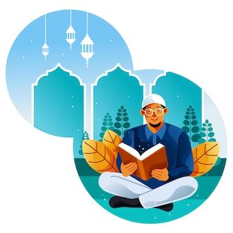 Moslim leest de koran in de maand ramadan
