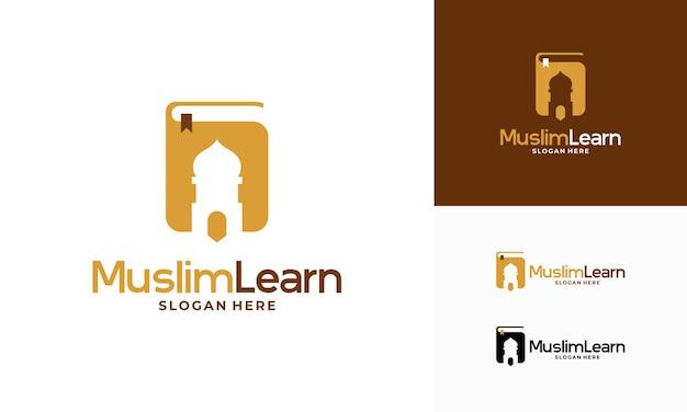 Moslim leren logo, islam leren logo sjabloon, vectorillustratie