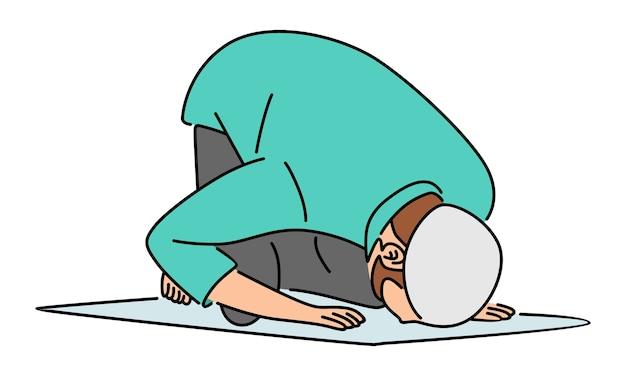 Moslim man bidden in plat ontwerp