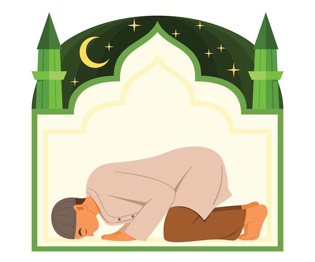 Moslim man bidden tot de god en moskee illustratie