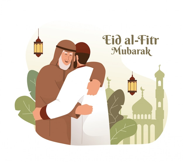 Moslim man knuffelen en elkaar wensen. eid al-fitr mubarak platte cartoon karakter illustratie