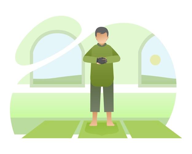 Moslim man met bionische hand die in een moskee bidt illustratie