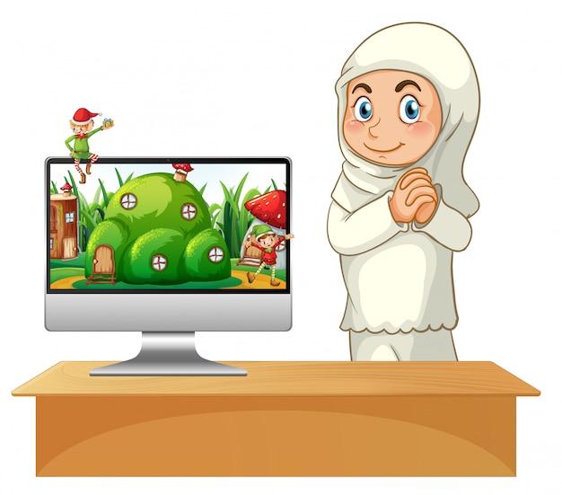Moslim meisje naast computer sprookje thema bureaubladachtergrond