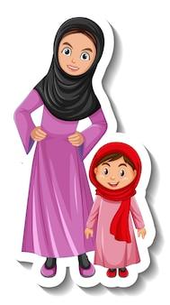 Moslim moeder en haar dochter stripfiguur sticker op witte achtergrond