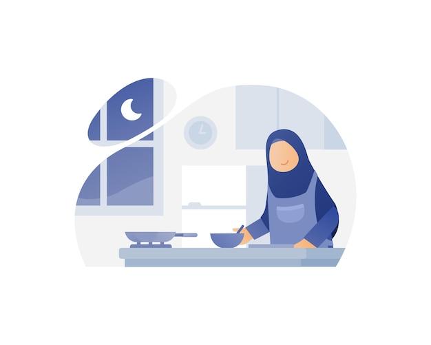 Moslim moeder kok in de keuken