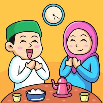 Moslim paar bidden tot allah tijdens iftar-tijd. pictogram illustratie. persoon pictogram concept geïsoleerd