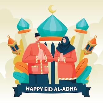 Moslim paar in eid al adha met moskee