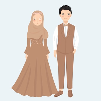 Moslim paar in formele kledingillustratie
