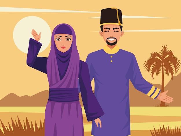 Moslim paar karakters