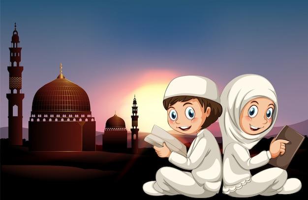 Moslim, paar, lezende, books