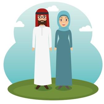 Moslim paar staande ontwerp