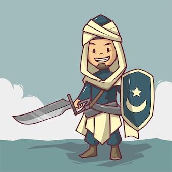 Moslim ridder met zwaard en schild