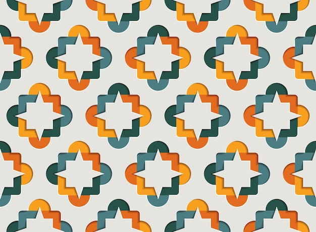 Moslim sier arabesque naadloze patroon voor ramadan kareem. oost-motief papier stijl achtergrond
