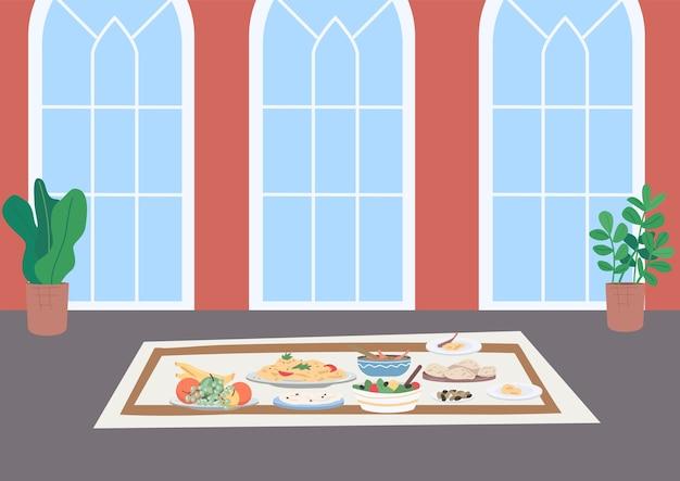 Moslim traditioneel diner egale kleur illustratie