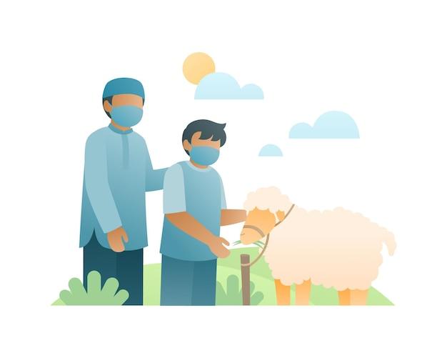 Moslim vader en jongen kopen een schaap voor celebrat eid al adha illustratie