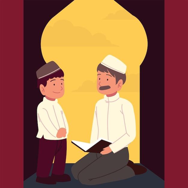 Moslim vader en zoon bidden cartoon