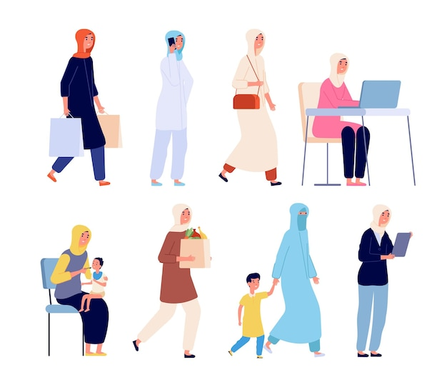 Moslim vrouwen. mode arabische shopaholic, vrouw in abaya hijab. jonge stijlvolle saoedische meisje met zoon, islamitische zakendame werkende vector set. moslimdame koopt aankoop-, werk- en winkelillustratie