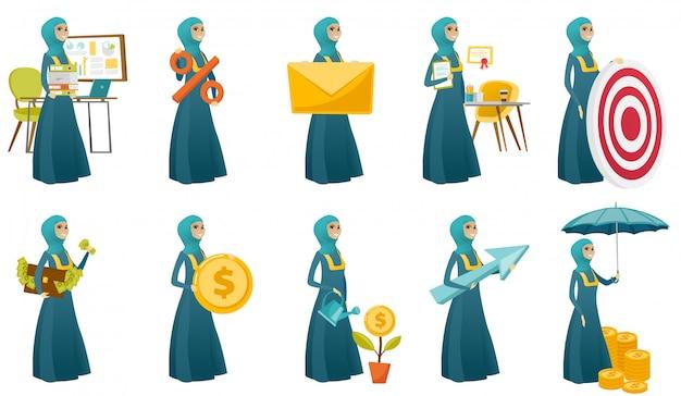 Moslim zakelijke vrouw set