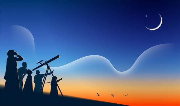 Moslim zoekt de hemel met een verrekijker naar de nieuwe maan (hilal) hajj mabrour eid mubarak